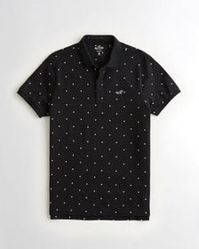 Hollister Stretch Shrunken-Collar Polo, BLACK PATT