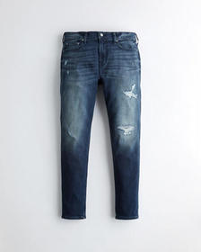 Hollister Taper Jeans, RIPPED AND REPAIRED DARK WA