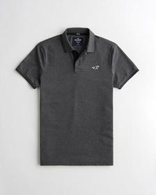 Hollister Stretch Icon Polo, HEATHER BLACK