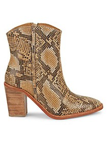 Free People Barclay Snake-Embossed Leather Booties