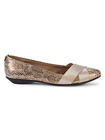 Anne Klein Sport Oalise Snake-Print Point Toe Flat