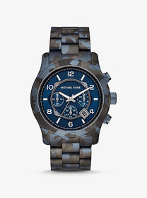 Michael Kors Oversized Runway Blue-Tone Camo Watch