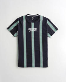 Hollister Stripe Logo Graphic Tee, NAVY STRIPE