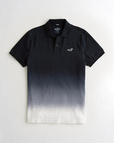 Hollister Stretch Ombré Polo, BLACK TO WHITE OMBRE