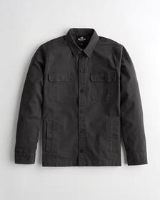 Hollister Utility Shirt Jacket, BLACK