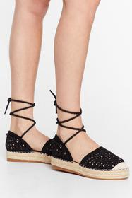 Nasty Gal Black It's Crochet With Us Tie Espadrill
