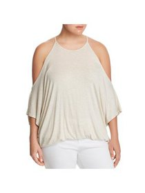 Elan Womens Plus Striped Cold Shoulder Pullover To