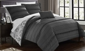 Reversible Solid to Paisley Print Duvet Set (3- or
