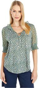 Lucky Brand Mixed Media V-Neck Flutter Top