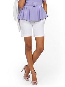 Whitney High-Waisted Pull-On 8-Inch Short - White