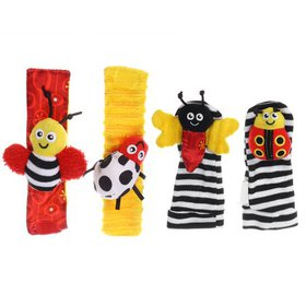 Baby Bee Cartoon Soft Infant Wrist Rattle and Foot
