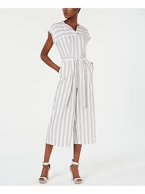 CALVIN KLEIN Womens White Striped Cap Sleeve Colla