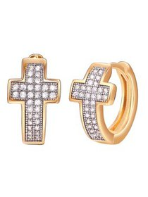 18k Gold Layered Crystal Cross Earrings Made With