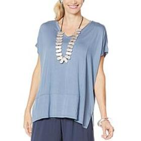 """""""As Is"""" WynneLayers Cap-Sleeve Panel Knit Top"""