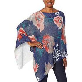 """""""As Is"""" Colleen Lopez Floral-Print Knit Poncho"""