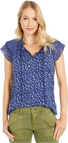Lucky Brand Printed Notch Neck Top