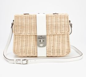 """As Is"" Patricia Nash Wicker Flap Crossbody - A390"