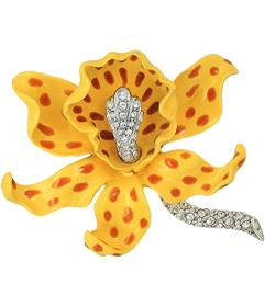 Kenneth Jay Lane Yellow\u002FBrown Spots Orchid Pi