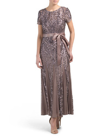 Petite Sequins Gown With Tie Waist