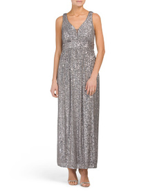 Petite Stretch Sequin V-neck Gown