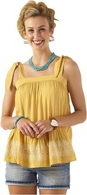 Wrangler Tie Strap Top with Hem Embroidery