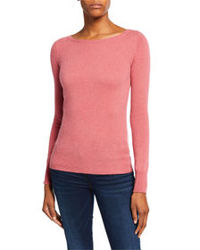 Neiman Marcus Cashmere Collection Bateau-Neck Long
