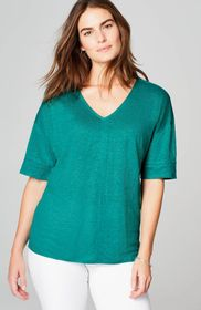 Linen-Knit Easy V-Neck Top
