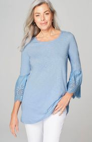 Mixed-Media Eyelet Tunic