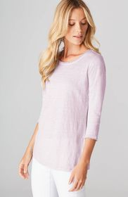 Linen-Knit Scoop-Neck Top