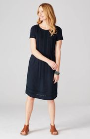 Pintucked Lace-Inset Dress