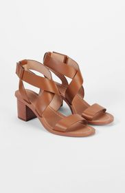 Leigh Cross-Strap Block-Heel Sandals