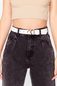 Nasty Gal White This Way Triangle Buckle Belt