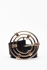 Nasty Gal Black Through the Wire Circle Buckle Bel