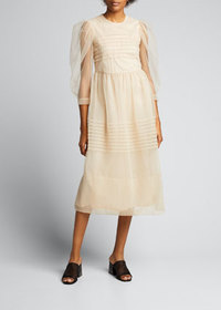 Simone Rocha Pleated Tulle Puff-Sleeve Dress