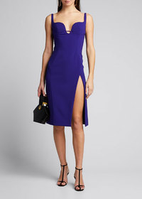 Mugler Crepe Sweetheart Front-Slit Sheath Dress