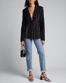 Monse Fitted Blazer with Falling Threads