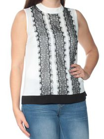 CALVIN KLEIN Womens Ivory Lace Sleeveless Turtle N