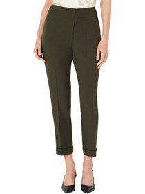 Anne Klein Womens Petites Crepe Cuffed Ankle Pants
