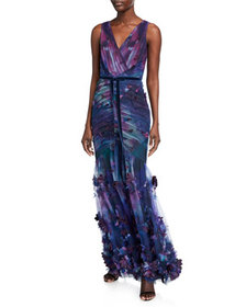 Marchesa Notte Sleeveless Printed Tulle Fit-&-Flar