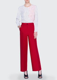 Akris punto Silk Patchwork Polka-Dot Blouse