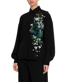 Givenchy Floral One-Sided Classic Blouse