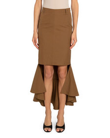 Givenchy Cotton High-Low Mermaid Flared Midi Skirt
