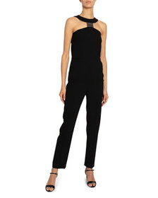 Givenchy Crystal T-Neck Straight-Leg Jumpsuit