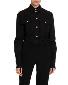 Givenchy Silk Jewel-Button Two-Pocket Blouse