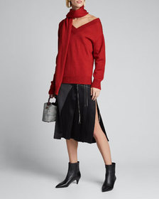 Monse Wool Tie-Neck Cold Shoulder Sweater