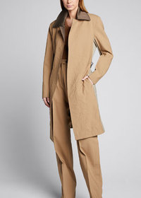Peter Do Chain-Belted Gabardine Coat