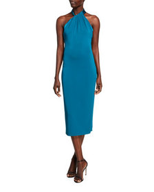 CUSHNIE Satin Crepe Halter-Neck Midi Dress