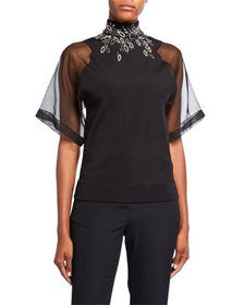 Givenchy Embroidered High-Neck Organza Top