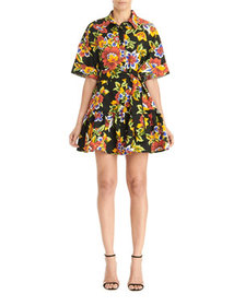 Carolina Herrera Floral Oversized Mini Shirtdress