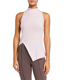 Rosetta Getty Cotton Paneled Turtleneck Top